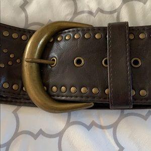 Wide brown belt with brass design sz M